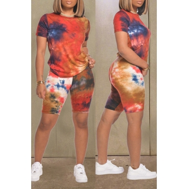 lovely Casual O Neck Tie-dye Print Red Two-piece Shorts Set