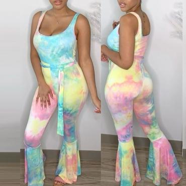 lovely Casual Tie-dye Babyblue One-piece Jumpsuit