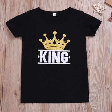 lovely Casual Print Black Boy T-shirt