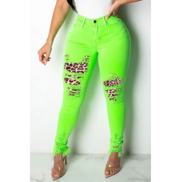 lovely Casual Broken Holes Patchwork Onion Green Jeans