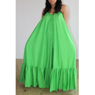 Lovely Casual Loose Green Maxi Dress