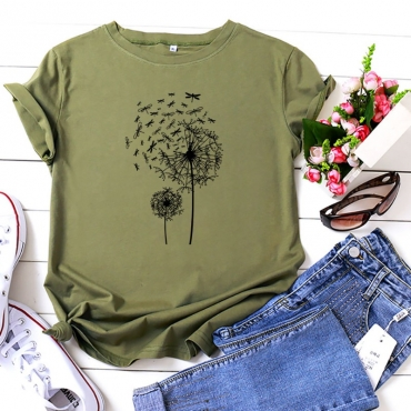 lovely Casual O Neck Print Army Green T-shirt