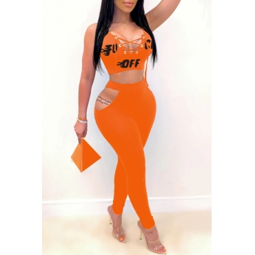 lovely Sexy Hollow-out Orange Two-piece Pants Set