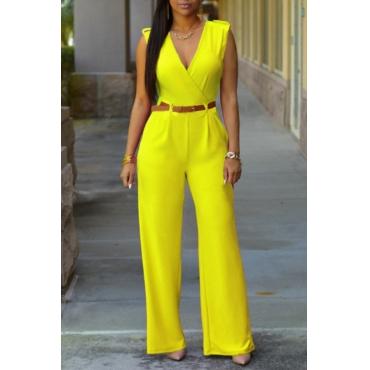 lovely Stylish V Neck Yellow One-piece Jumpsuit(Without Belt)