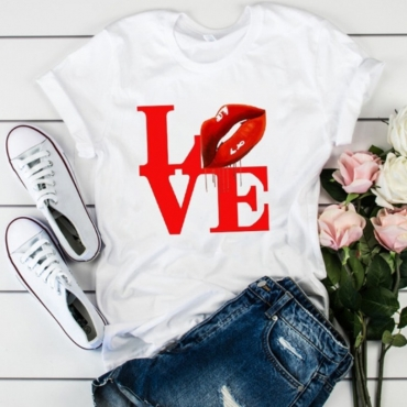 lovely Leisure O Neck Letter Print Bright Red T-shirt