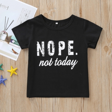 lovely Casual Letter Print Black Boy T-shirt