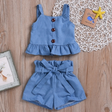 lovely Sweet Flounce Design Blue Girl Two-piece Shorts Set
