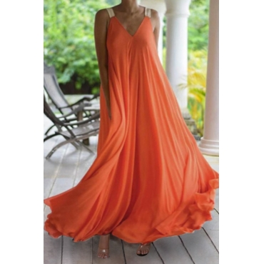 Lovely Casual Loose Croci Maxi Plus Size Dress