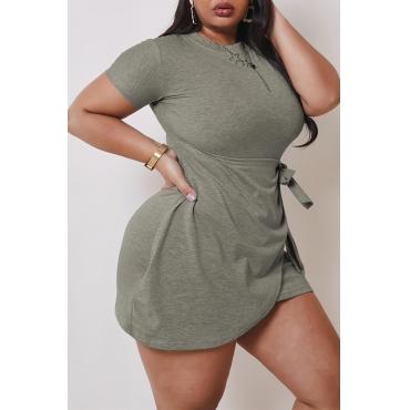 Lovely Casual Asymmetrical Grey Mini Plus Size Dress