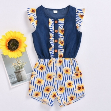 lovely Trendy Floral Print Deep Blue Girl One-piece Romper