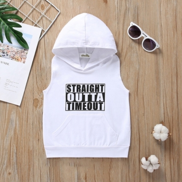 lovely Casual Letter Print White Boy Tank Top