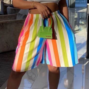 lovely Casual Rainbow Striped Multicolor Shorts