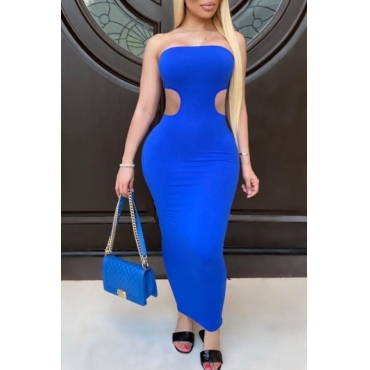 lovely Sexy Dew Shoulder Hollow-out Blue Ankle Length Dress