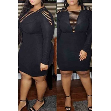 lovely Trendy Hollow-out Black Plus Size Dress