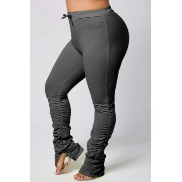 lovely Casual Fold Design Black Plus Size Pants
