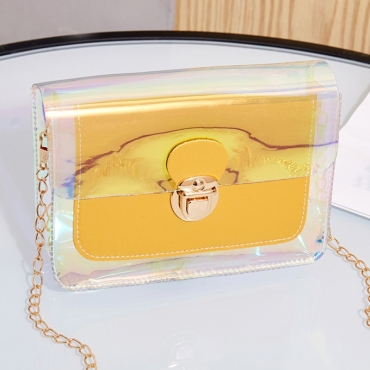 lovely Trendy See-through Yellow Crossbody Bag