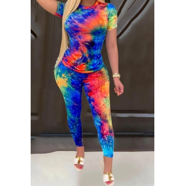 lovely Trendy O Neck Tie-dye Blue Two-piece Pants Set
