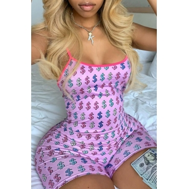 lovely Sexy Print Pink One-piece Romper