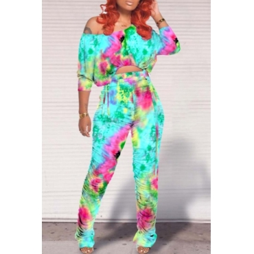 lovely Trendy Tie-dye Fold Design Cyan Two-piece Pants Set
