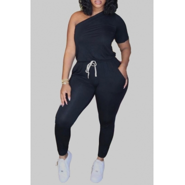 lovely Casual One Shoulder Lace-up Black Plus Size One-piece Jumpsuit