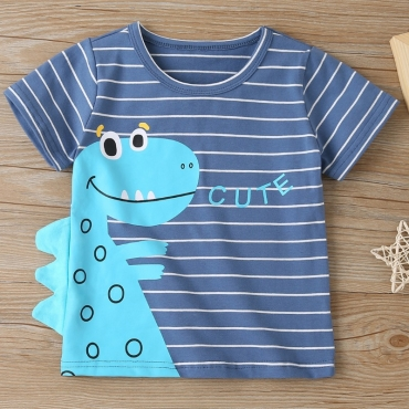 lovely Casual O Neck Letter Print Blue Boy T-shirt
