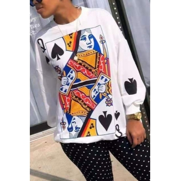 lovely Leisure O Neck Print White Hoodie