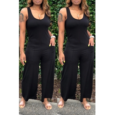 lovely Casual U Neck Basic Black Plus Size One-piece Jumpsuit