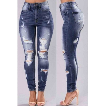 lovely Stylish High-waisted Broken Holes Dark Blue Jeans