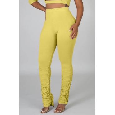 lovely Leisure Fold Design Yellow Pants