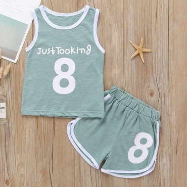 lovely Casual Print Letter Blackish Green Boy Two-piece Shorts Set