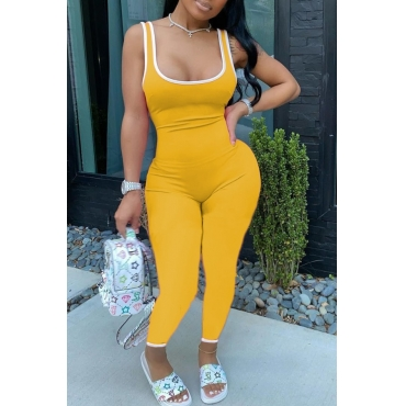 lovely Sportswear Patchwork Yellow One-piece Jumpsuit