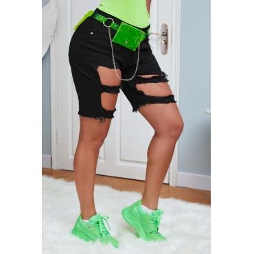 lovely Stylish Hollow-out Black Denim Shorts