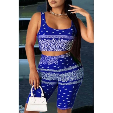 Lovely Trendy Print Blue Two-piece Shorts Set