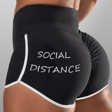 lovely Sportswear Letter Black Shorts