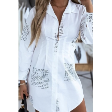 lovely Trendy Letter Print White Plus Size Blouse