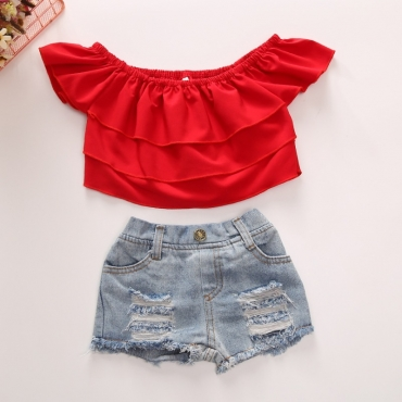 lovely Sweet Broken Holes Red Girl Two-piece Pants Set