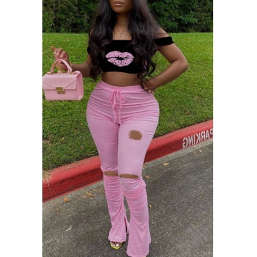 Lovely Casual Print Hollow-out Pink Plus Size Two-piece Pants Set