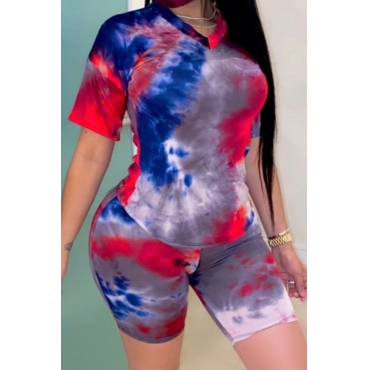 Lovely Leisure V Neck Tie Dye Purple Two Piece Shorts Set