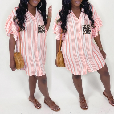 lovely Trendy Turndown Collar Striped Pink Blouse