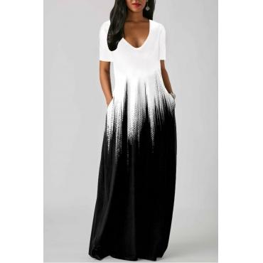 lovely Casual V Neck Gradual Change White Maxi Dress