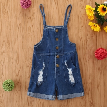 lovely Trendy Buttons Design Blue Girl One-piece Romper