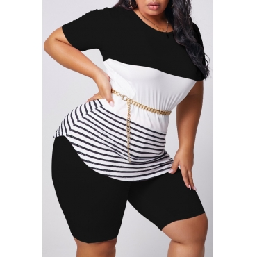 lovely Casual Patchwork Black Plus Size Two-piece Shorts Set