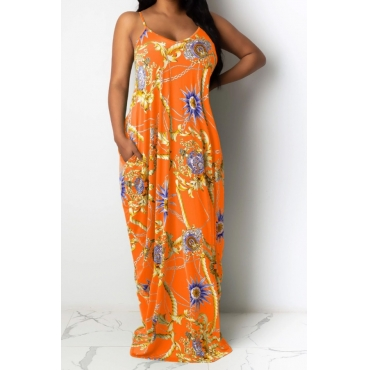 lovely Bohemian Plants Print Croci Maxi Dress