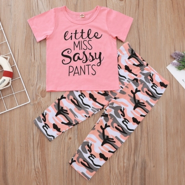 lovely Casual Letter Print Pink Girl Two-piece Pants Set