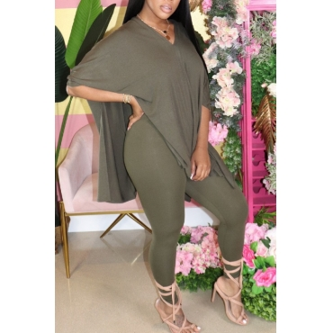 lovely Casual V Neck Side Slit Army Green Two-piece Pants Set