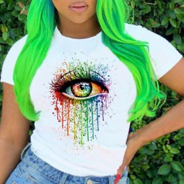 lovely Street Eye Print White T-shirt