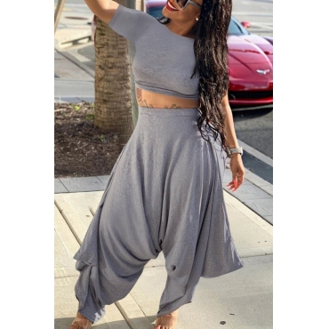 lovely Casual Fold Design Asymmetrical Grey Two-piece Pants Set