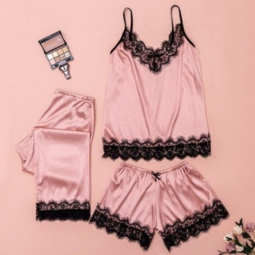 lovely Sexy Lace Patchwork Pink Sleepwear