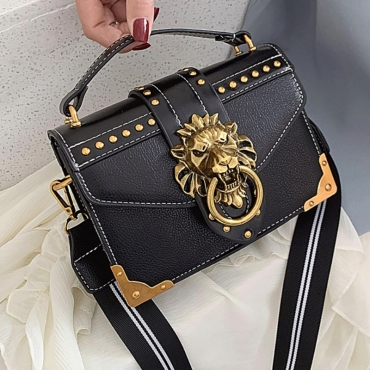 lovely Stylish Rivet Decorative Black Crossbody Bag
