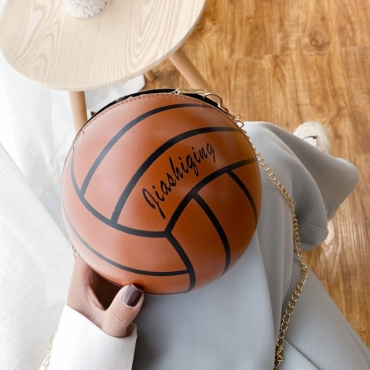 lovely Stylish Basketball Brown Crossbody Bag